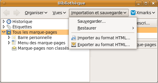 Firefox : export HTML ou sauvegarde au format JSON