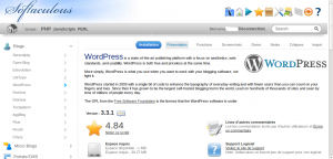 Exemple d'installation avec Softaculous : WordPress
