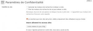 WordPress.com : option pour blog privé - Cliquez pour aggrandir l'image